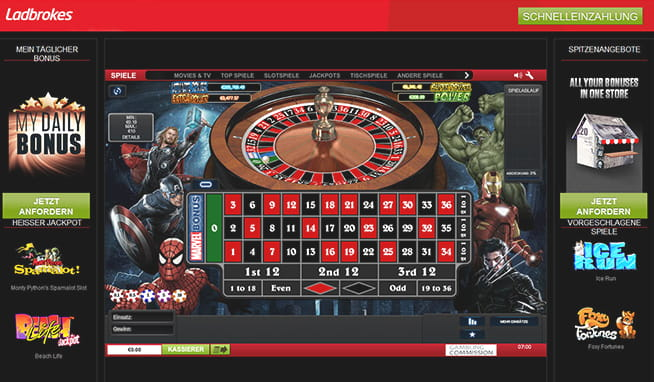 Marvel roulette jackpot